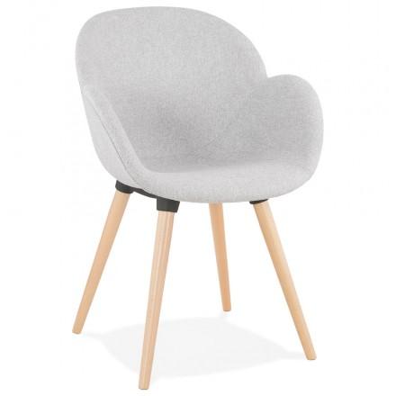 Chaise design syle scandinave LENA en tissu (gris clair)