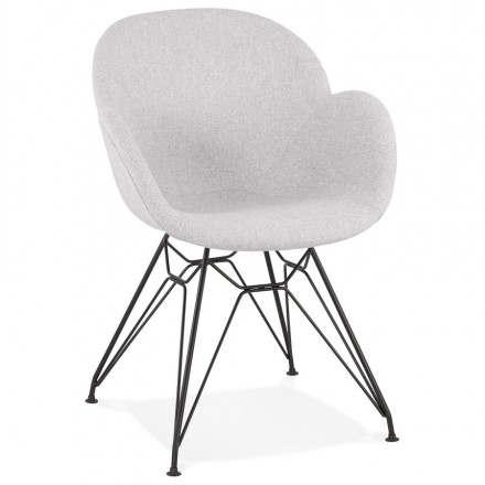 TOM Industrie-Stil Design Stuhl aus schwarzem Metall Fußstoff (hellgrau)
