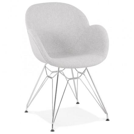 Chaise design style industriel TOM en tissu pieds métal chromé (gris clair)
