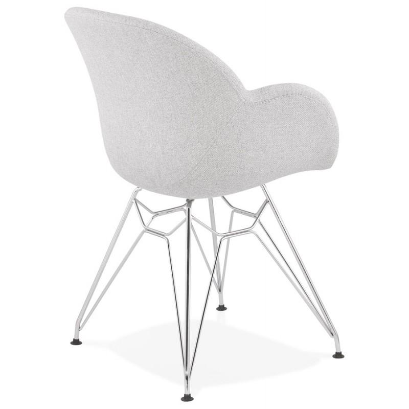 Chaise design style industriel TOM en tissu pieds métal chromé (gris clair) - image 43393