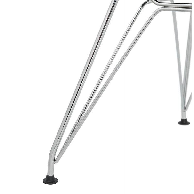 Chaise design style industriel TOM en tissu pieds métal chromé (gris clair) - image 43400