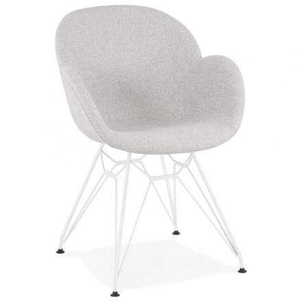 TOM Industrie-Stil Design Stuhl aus weiß lackiertem Metallstoff (hellgrau)