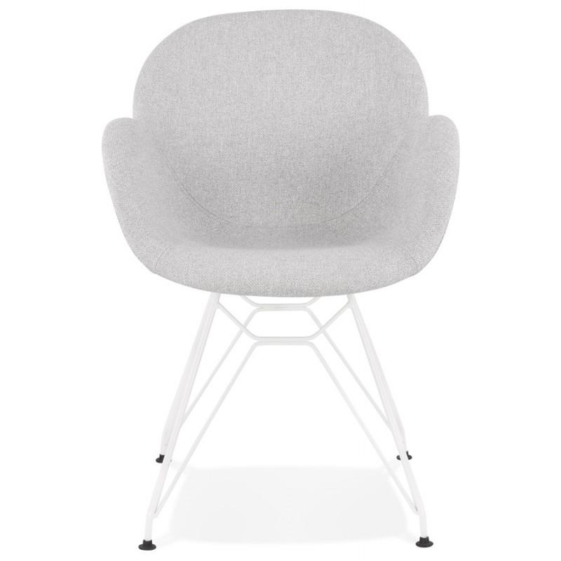 Chaise design style industriel TOM en tissu métal peint blanc (gris clair) - image 43403
