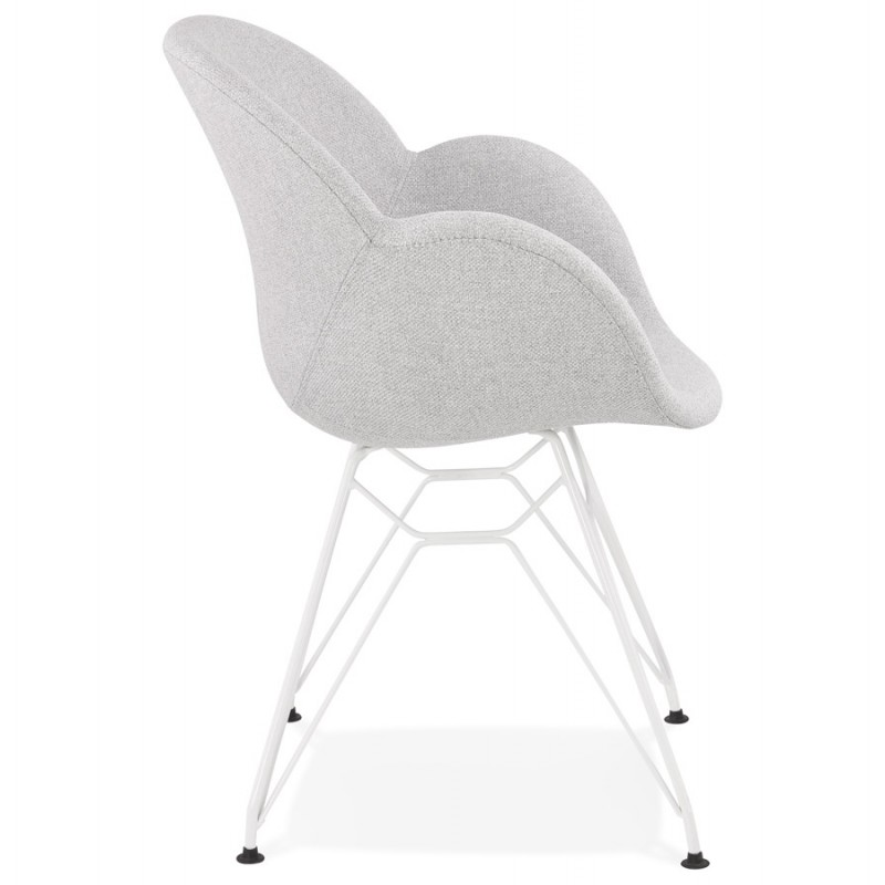 Chaise design style industriel TOM en tissu métal peint blanc (gris clair) - image 43404