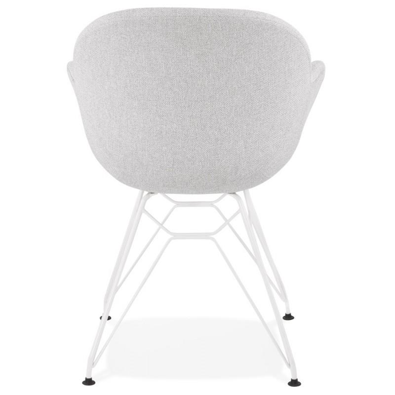 Chaise design style industriel TOM en tissu métal peint blanc (gris clair) - image 43406