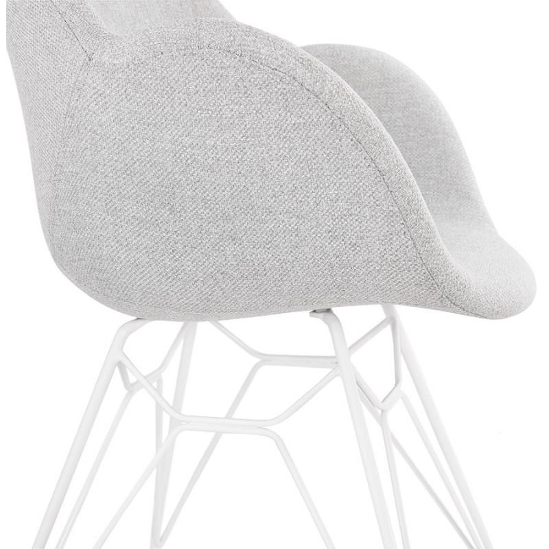 Chaise design style industriel TOM en tissu métal peint blanc (gris clair) - image 43409