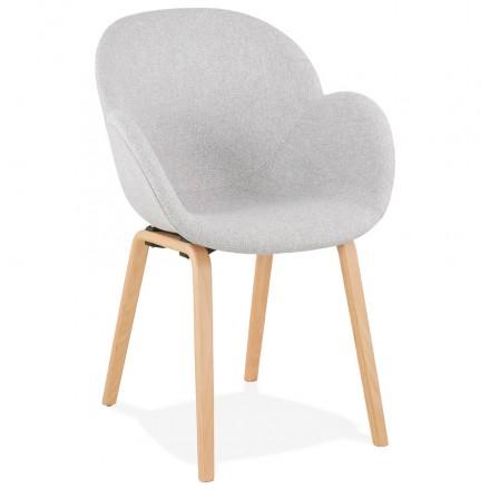 Skandinavischer Designstuhl mit CALLA Armlehnen aus naturfarbenem Fußstoff (hellgrau)