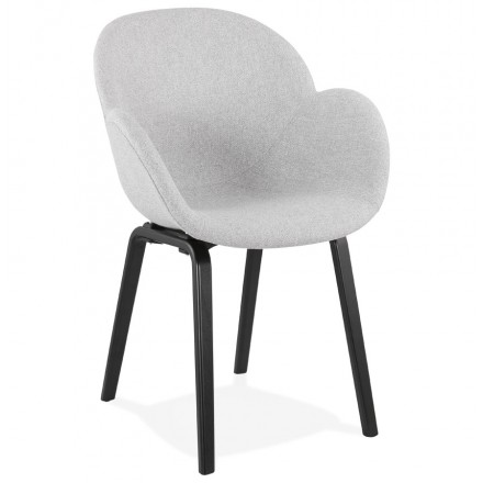 Chaise design scandinave avec accoudoirs CALLA en tissu  pieds couleur noire (gris clair)