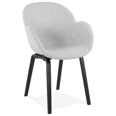 Skandinavischer Designstuhl mit CALLA Armlehnen aus schwarzem Fußstoff (hellgrau)