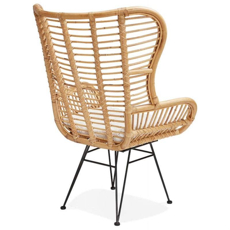 Rattan chair with PITAYA foot restless black (natural) - image 43440