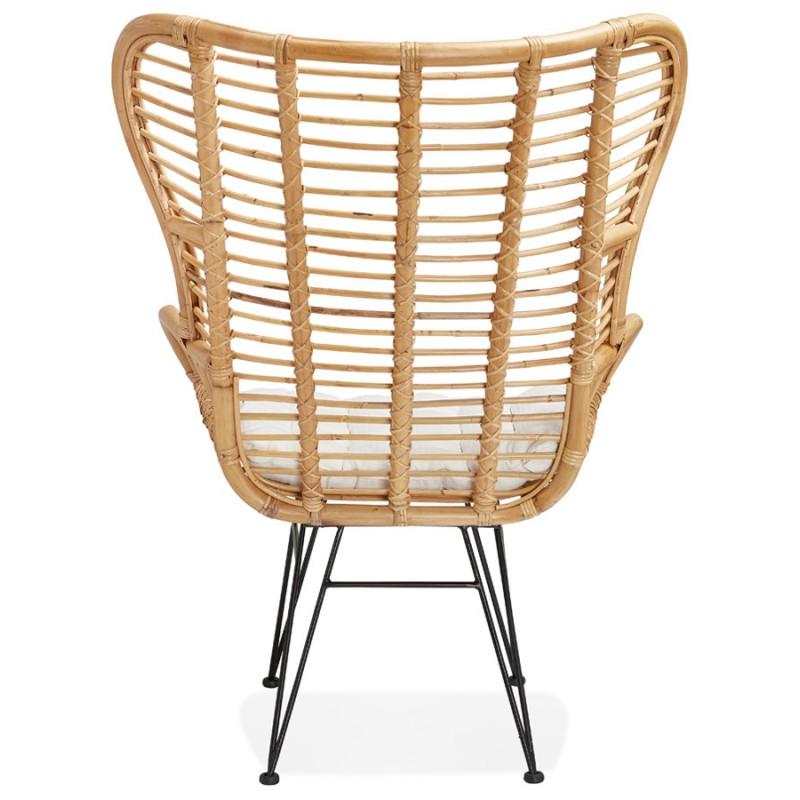 Rattan chair with PITAYA foot restless black (natural) - image 43441