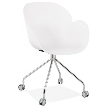 SORBIER desk chair on wheels in polypropylene chrome metal feet (white)