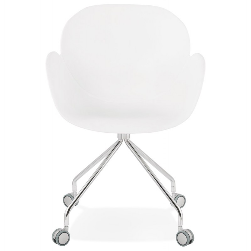 Chaise de bureau sur roulettes SORBIER en polypropylène pieds métal chromé (blanc) - image 43461