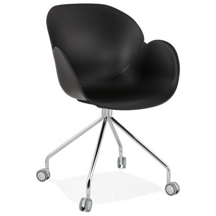 SORBIER Schreibtischstuhl auf Rädern aus Polypropylen Chrom Metallfüße (schwarz)