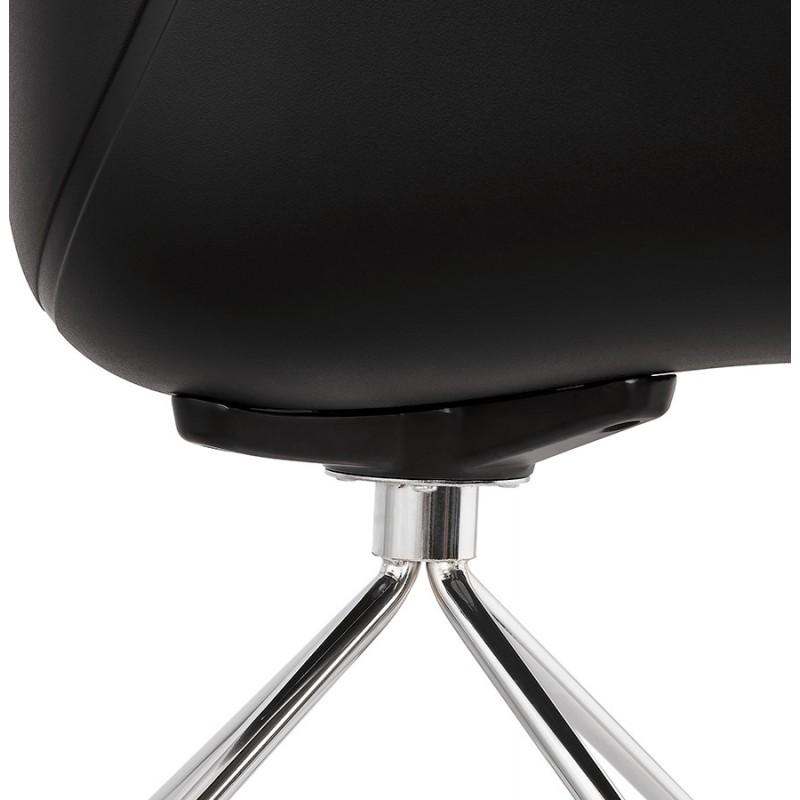 Sedia da tavolo SORBIER su ruote in piede in metallo cromato in polipropilene (nero) - image 43476