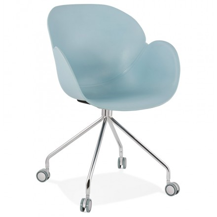 SORBIER desk chair on wheels in polypropylene chrome metal feet (sky blue)