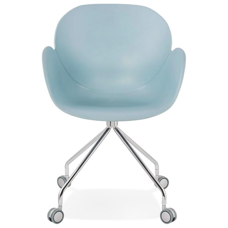 Chaise de bureau sur roulettes SORBIER en polypropylène  pieds métal chromé (bleu ciel) - image 43479