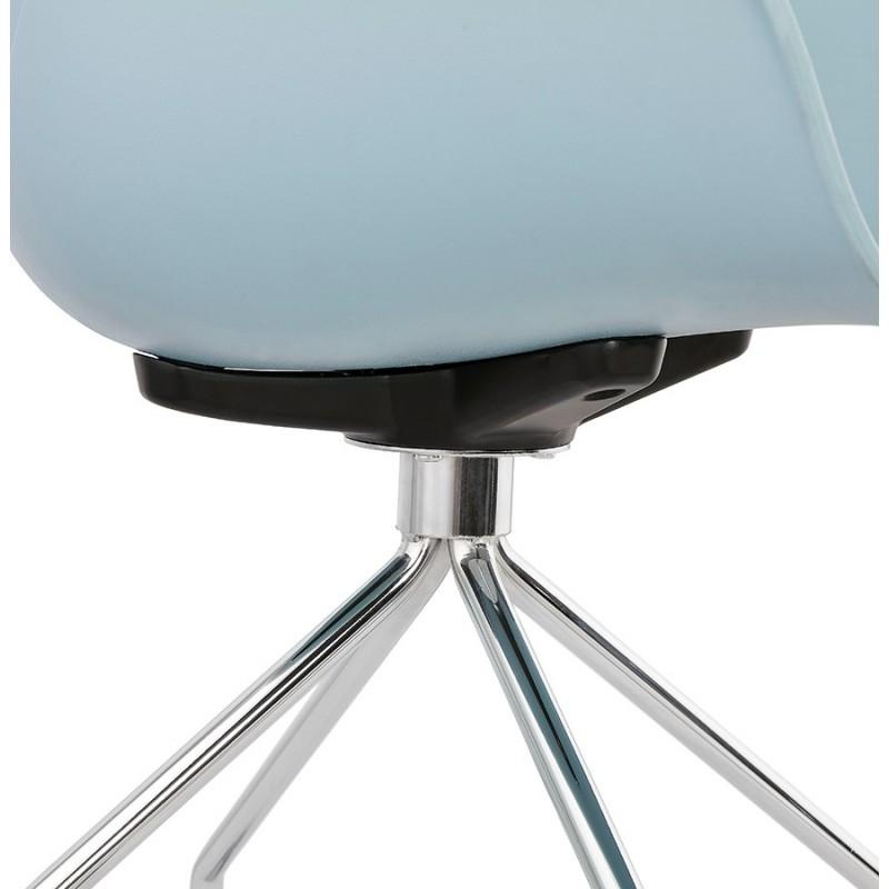 Chaise de bureau sur roulettes SORBIER en polypropylène  pieds métal chromé (bleu ciel) - image 43483
