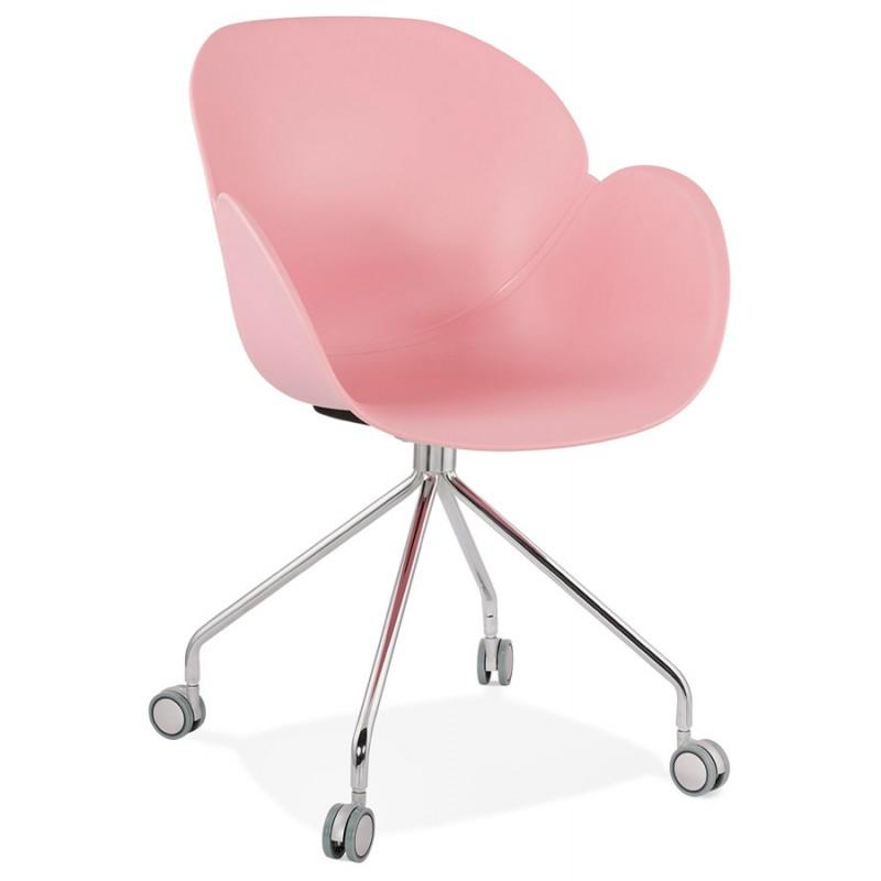 Chaise de bureau sur roulettes SORBIER en polypropylène  pieds métal chromé (rose)