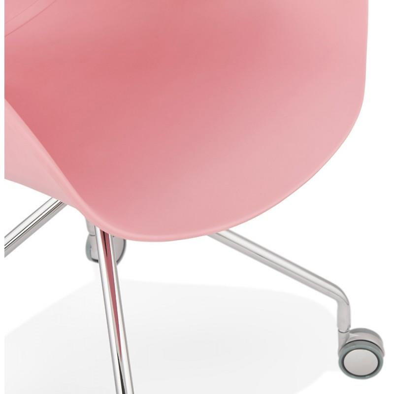 Chaise de bureau sur roulettes SORBIER en polypropylène  pieds métal chromé (rose) - image 43487