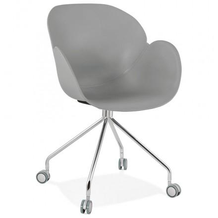 SORBIER Schreibtischstuhl auf Rädern aus Polypropylen Chrom Metallfüße (grau)