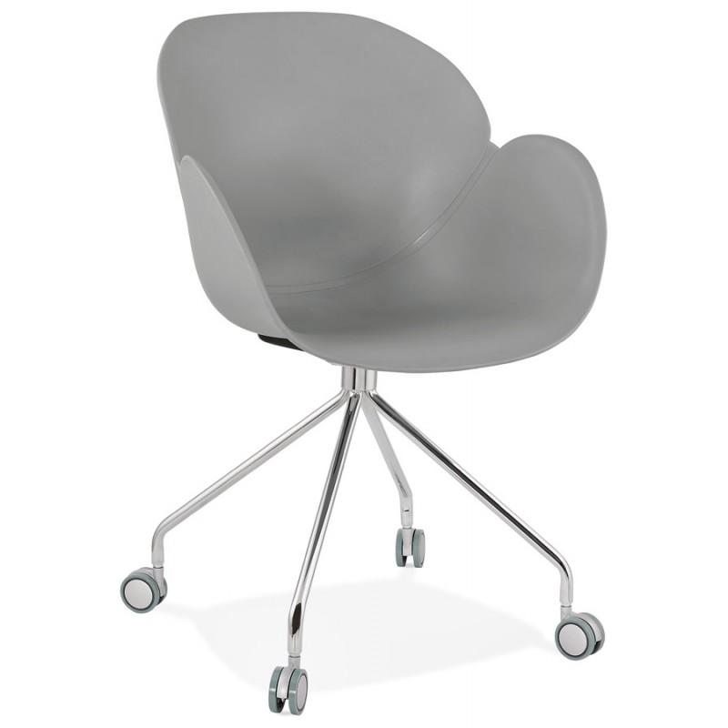 Chaise de bureau sur roulettes SORBIER en polypropylène pieds métal chromé (gris) - image 43492