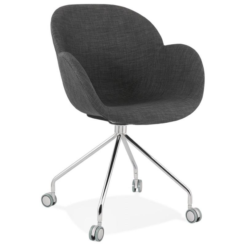 Chaise de bureau sur roulettes CAPUCINE en tissu (gris anthracite) - image 43499