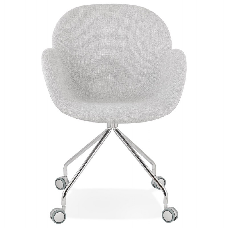Chaise de bureau sur roulettes CAPUCINE en tissu (gris clair) - image 43509