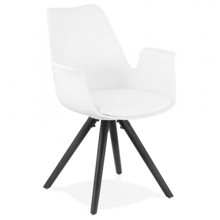Scandinavian design chair with ARUM black -black (white) wooden foot armrests