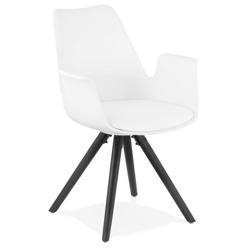 Chaise design scandinave avec accoudoirs ARUM pieds bois couleur noire (blanc)