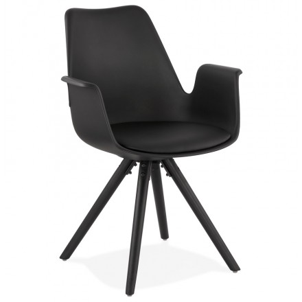 Scandinavian design chair with ARUM black-colored wooden foot armrests (black)