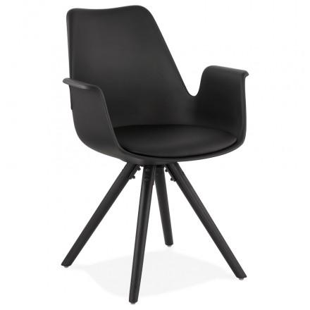 Chaise design scandinave avec accoudoirs ARUM pieds bois couleur noire (noir)