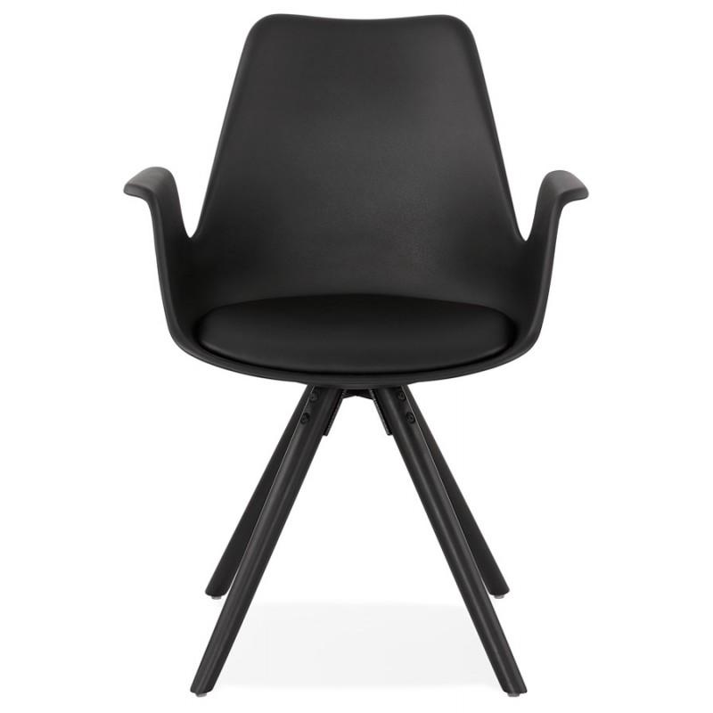 Chaise design scandinave avec accoudoirs ARUM pieds bois couleur noire (noir) - image 43525