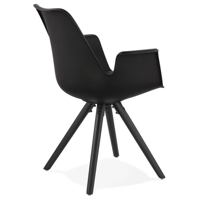 Chaise design scandinave avec accoudoirs ARUM pieds bois couleur noire (noir) - image 43527