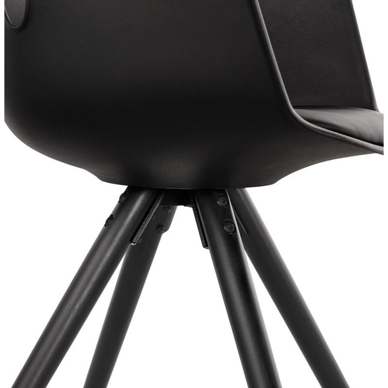 Chaise design scandinave avec accoudoirs ARUM pieds bois couleur noire (noir) - image 43530