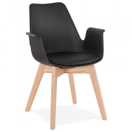 Silla de diseño escandinavo con pies KALLY de madera de color natural (negro)