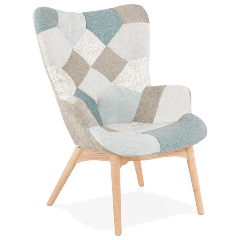Fauteuil patchwork design scandinave LOTUS (bleu, gris, beige) - image 43573