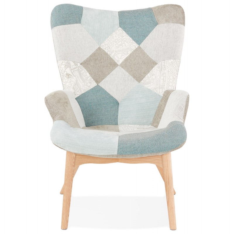 Fauteuil patchwork design scandinave LOTUS (bleu, gris, beige) - image 43574