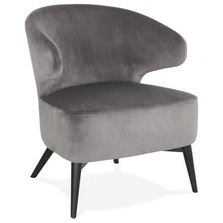 Fauteuil design YASUO en velours pieds bois couleur noire (gris)