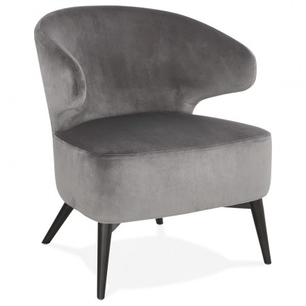 Sedia yASUO design in velluto piedi nero (grigio)