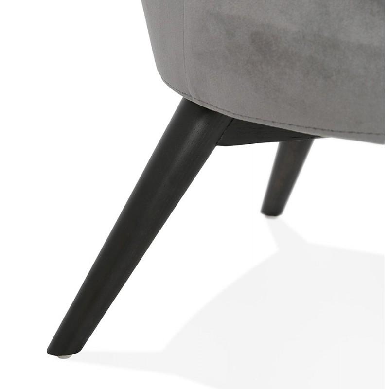Fauteuil design YASUO en velours pieds bois couleur noire (gris) - image 43607