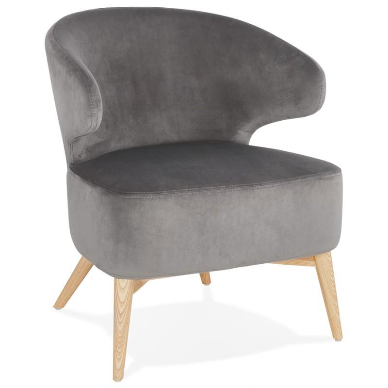 Fauteuil design YASUO en velours pieds bois couleur naturelle (gris) - image 43608