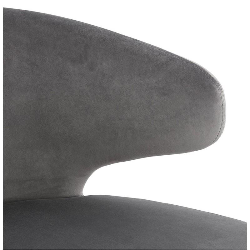 Fauteuil design YASUO en velours pieds bois couleur naturelle (gris) - image 43610