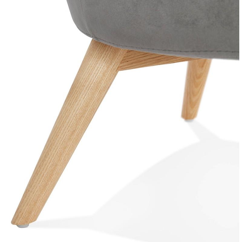 Fauteuil design YASUO en velours pieds bois couleur naturelle (gris) - image 43614