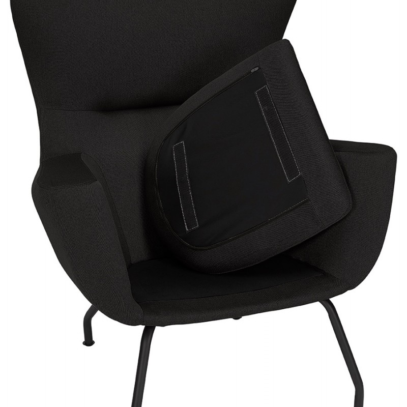 Fauteuil à oreilles contemporain LICHIS en tissu (noir) - image 43626