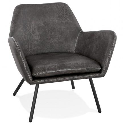 Fauteuil lounge rétro et vintage HIRO (gris foncé)