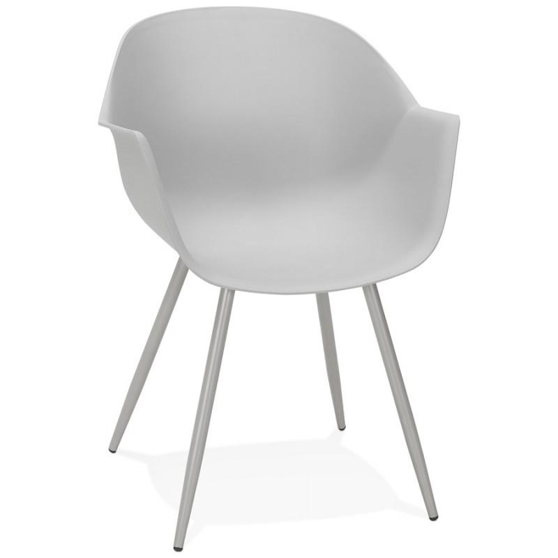 Chaise design scandinave avec accoudoirs COLZA en polypropylène (gris)
