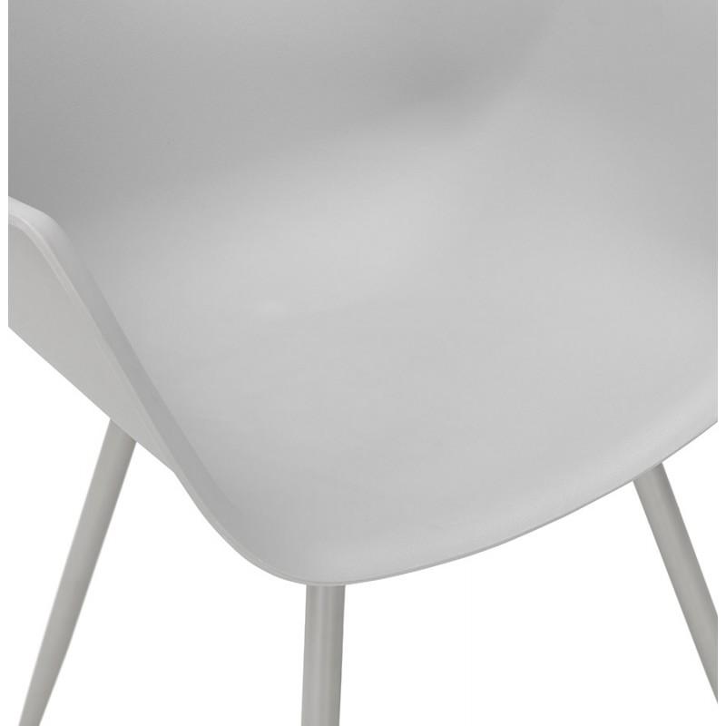 Chaise design scandinave avec accoudoirs COLZA en polypropylène (gris) - image 43703