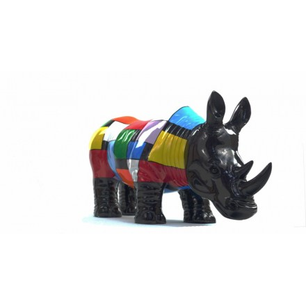 Statue sculpture décorative design RHINOCEROS en résine H34 cm (Multicolore)