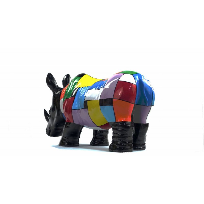 Statue decorative sculpture design RHINOCEROS in resin H34 cm (Multicolored) - image 43728